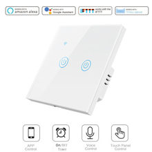 Tuya Smart 86 Type 1/2/3/4 Gang WiFi Touch Switch App Control No Neutral Wire Required Wall Light Switch With Alexa Google Home(China)