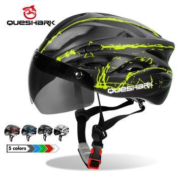 Queshark Black Goggles Bicycle Helmet Ultralight Pattern Bike Helmet Riding Mountain Road Bike Integrally Molded Cycling Helmets
