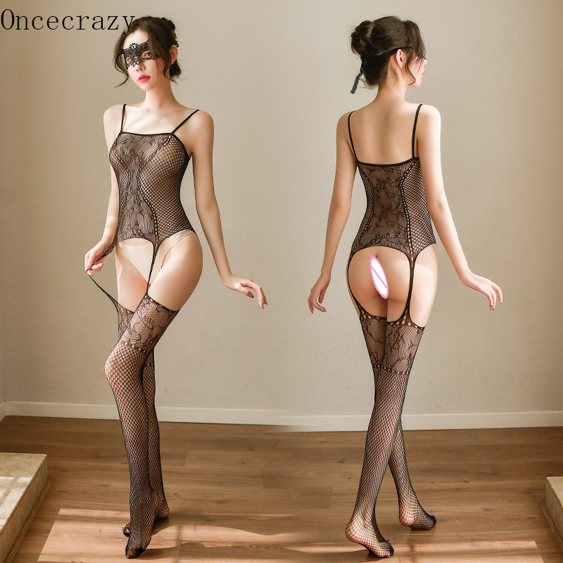 Oncecrazy Open Crotch Sexy Lingerie Women Fishnet Onesies Erotic Lingerie Transparent Sexy Stockings Suspenders Mesh Jacquard