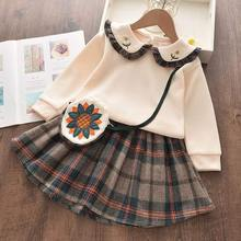 Keelorn Kids Clothes Girls Sweater Suit for Girls Flower Top Skirt 2PCS with Bag Christmas Clothes Halloween Children's Costumes