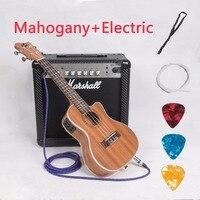 Гавайские гитары укулеле 23 26 дюймов Мини Гавайская гитара из красного дерева концертная Tenor Cutaway акустическая электрическая 4 струны Ukelele ...