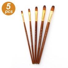 Kit de pinceaux à peinture avec poils en Nylon, brosses à pointe ronde et pointue pour artiste, acrylique, Aquarelle, Gouache, peinture à l'huile, 5 pièces