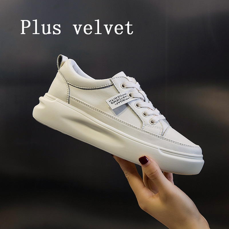 Big Size Women Sneakers Autumn Leather Light White Sneaker Female Platform Vulcanized Shoes Spring Casual Breathable Sports Shoe 9