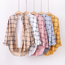 Chic Plaid Cotton Shirt Full Sleeve Turn-down Collar Student Autumn Blouse Women New Loose Casual Long Blusas Office Ladies Tops cotton long shirt fashion plaid turn down collar full sleeve office lady autumn women blouse plus size casual blusas student top