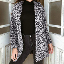 LITTHING Leopard Print Winter Woman Coat Winter Artificial Fur Jacket Faux Fur Teddy Coat Jacket Sexy Long Cardigan Jacket Plush(China)