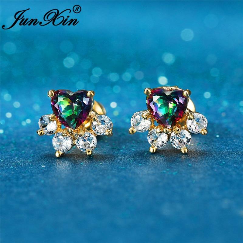 Cute Animal Cat Bear Dog Paw Stud Earrings For Women White Gold Yellow Gold Color Blue Fire Opal Earrings Rainbow Heart Earring
