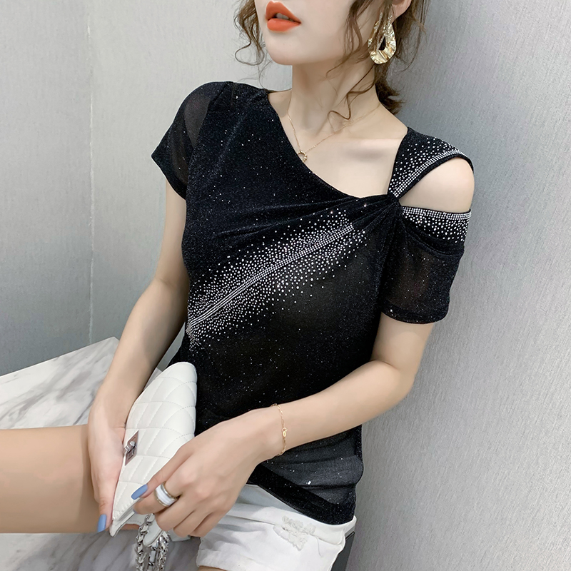 Women t-shirt Fashion casual short sleeve Hot drill T-shirt Elegant slim summer tops Plus size women clothing blusas