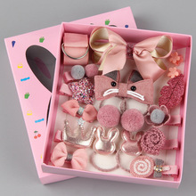 18pcs/set Children Cartoon Hair Clip Headwear Boxed Hairpin Rope Accessories Ring Circle Kid Lovely