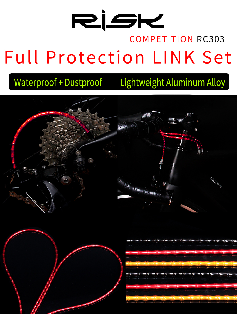 Bicycle Brake Cable Set Derailleur Shift Housing Aluminum Alloy Links For MTB