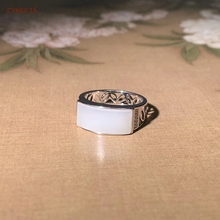 CYNSFJA Real Certified Natural Chinese Hetian Jade Inlaid 925 Sterling Silver Handmade Men's Jade Rings White Fine Jewelry High Quality Best Gifts 21 30 16mm natural ore turquoise inlaid vintage rings 925 sterling silver inlaid jewelry gem free shipping
