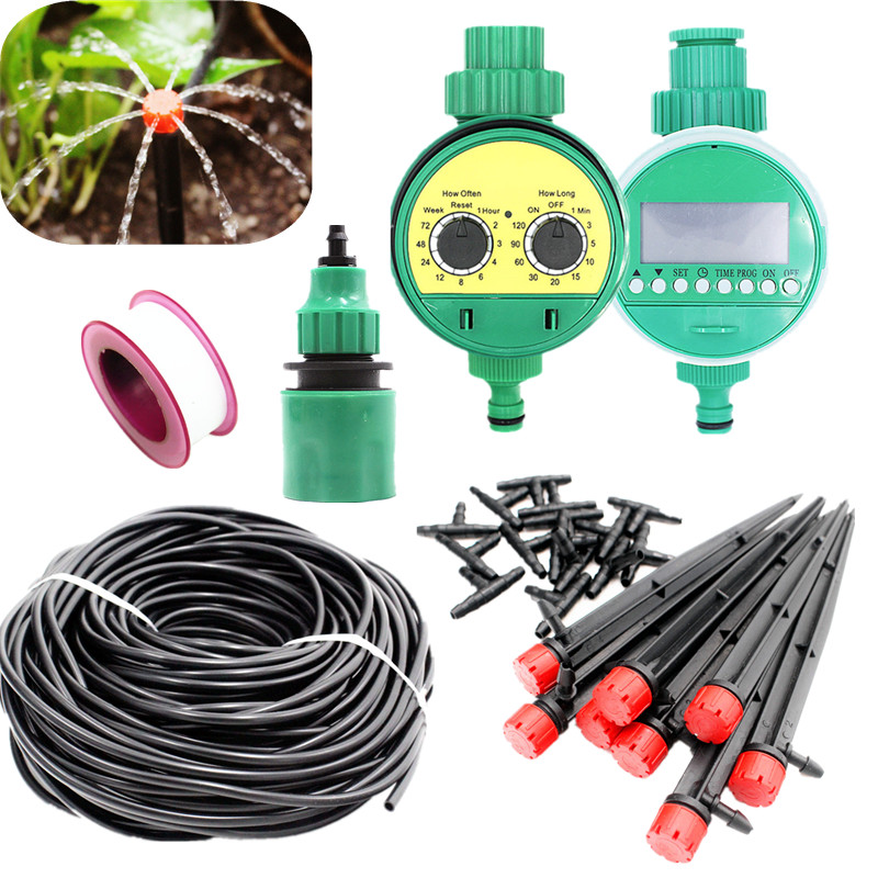 25m Hose Garden Drippers On Stake With Water Timer DIY Drip Irrigation System Plant Automatic Self Watering Kits