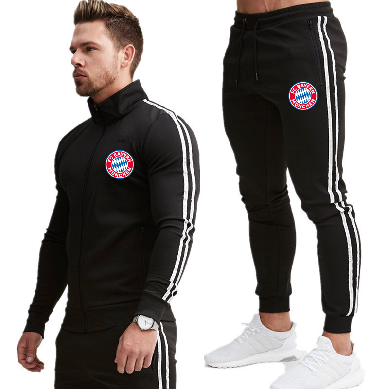 2020 New Brand Men's Zipper Fashion Long Sleeve Hoodie + Pants Set Male Tracksuit Sports Suit Gym Set For Men Casual Sports Suit