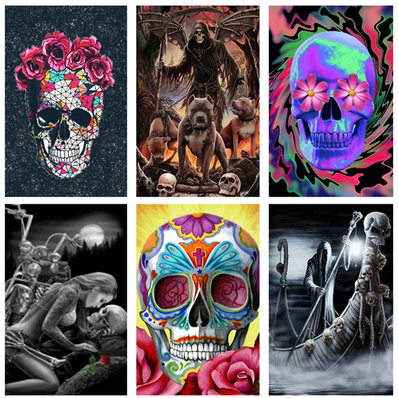 5D DIY full square  round diamond painting Halloween skull drawing adult and children painting kit embroidery art craft home decoration