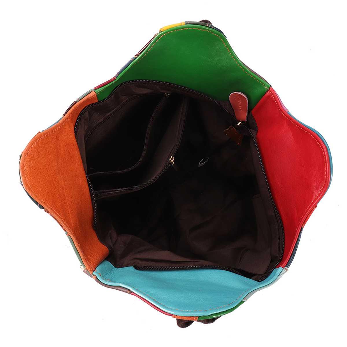 Γυναικεία δερμάτινη τσάντα πολύχρωμη patchwork vintage τσάντα ώμου totes crossbody msow