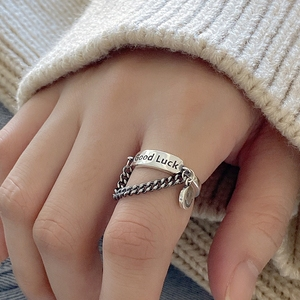 Fashion Good Luck Initial Letter 925 Sterling Silver Dainty Ring For Women Retro Vintage Thai Silver Tassel Chain Ring Gifts