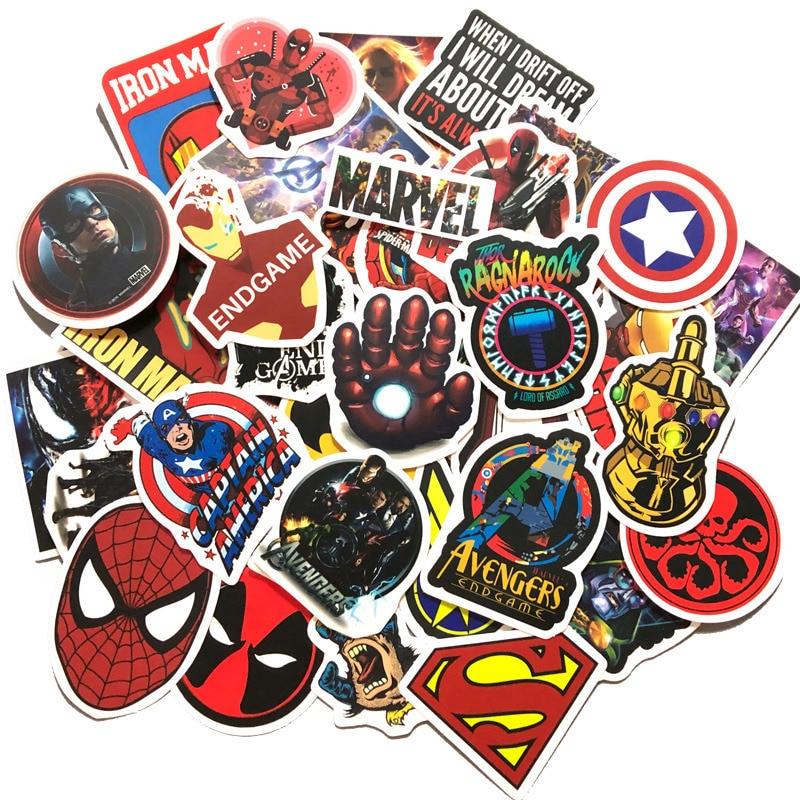 50PCS Marvel Spider Iron Man Sticker DIY Waterproof Sticker Kids DIY Laptop Moto Skateboard Luggage Cartoon Car Sticker