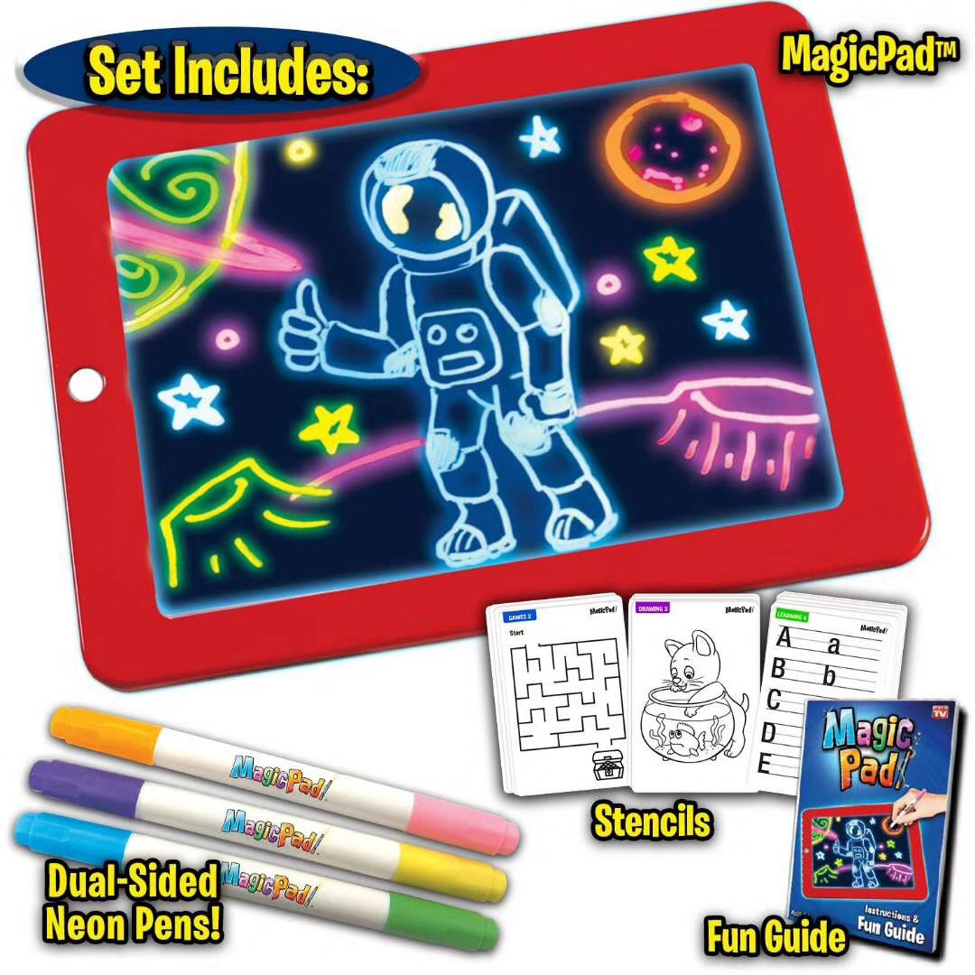 Drawing Board Fluorescent WordPad Children Early Education Color Doodle Board Drawing Board Toy LED Electronic Fluorescent Pen