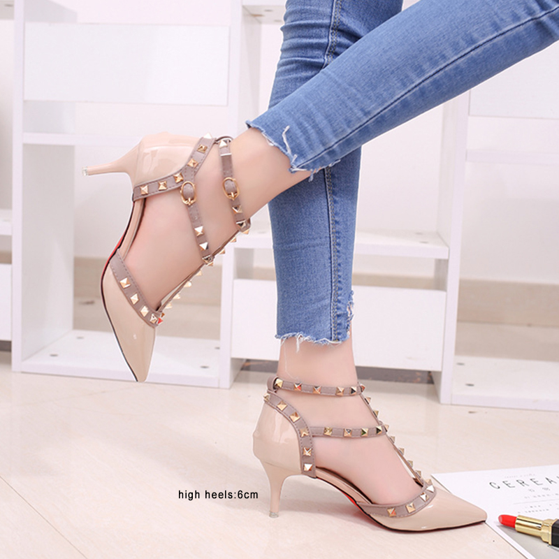 2019 New Pumps Women Shoes Nude Color Rivet High Heels Shoes Pumps Sandals Ankle Strap  Poinet Toe Women's Shoes Ladies Shoes