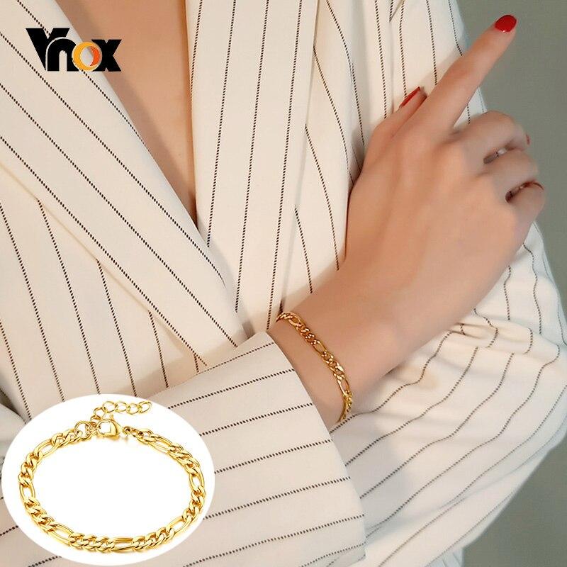 Vnox şık Figaro Link zinciri bilezikler kadınlar için 5 MM geniş altın rengi paslanmaz çelik bilek takı uzunluğu ayarlanabilir
