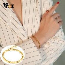 Vnox Chic Figaro Bracciali Catena a maglia per Le Donne 5 MILLIMETRI di Larghezza di Colore Dell'oro Dell'acciaio inossidabile Gioielli Da Polso Lunghezza Regolabile