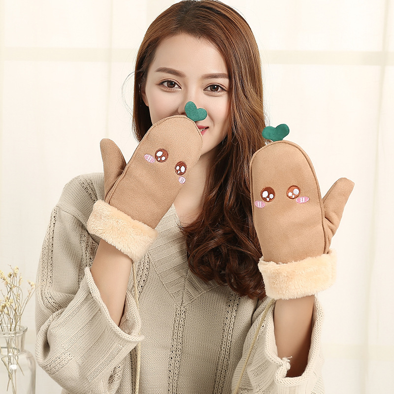 Lovely Green Leaf Cartoon Facial Embroidery Suede Gloves Korean Simple Finger Gloves