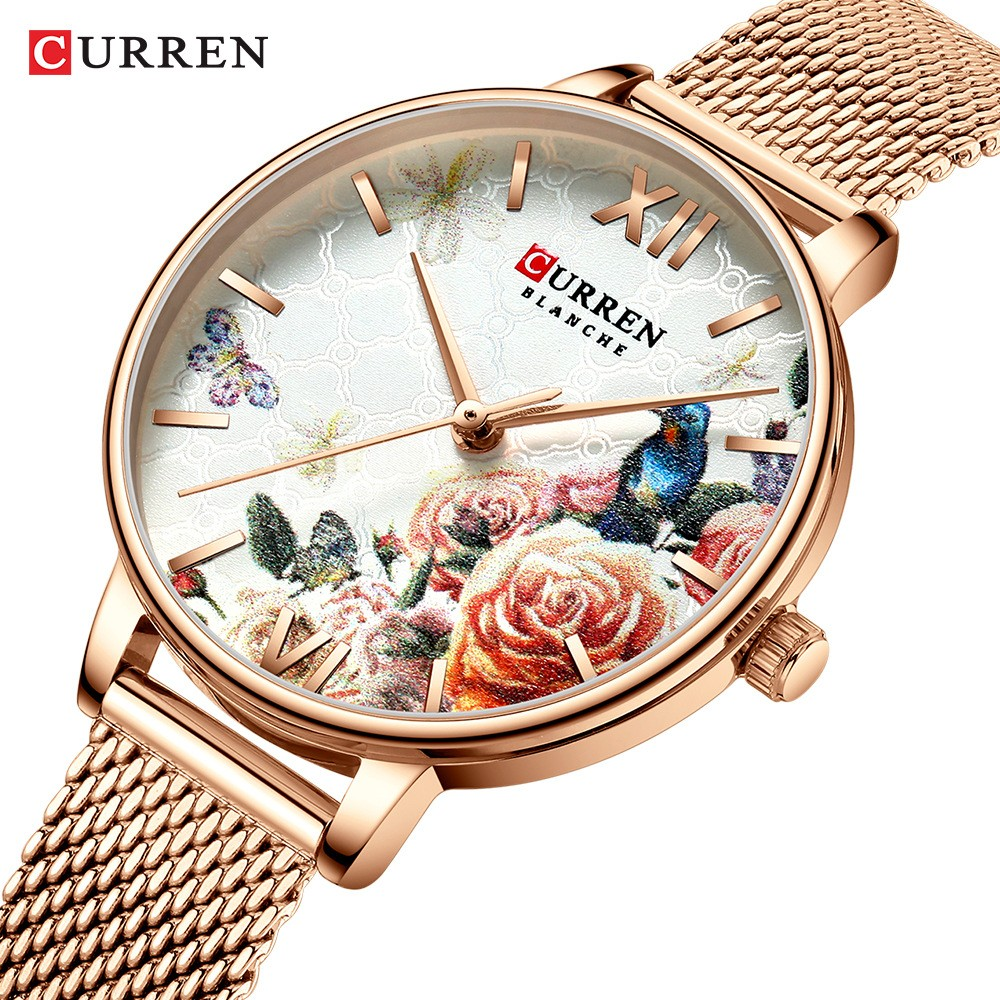 CURREN New Ladies Flower Watches Fashion Women Stainless Steel Bracelet Wristwatch Casual Women's Quartz Clock reloj mujer Watch