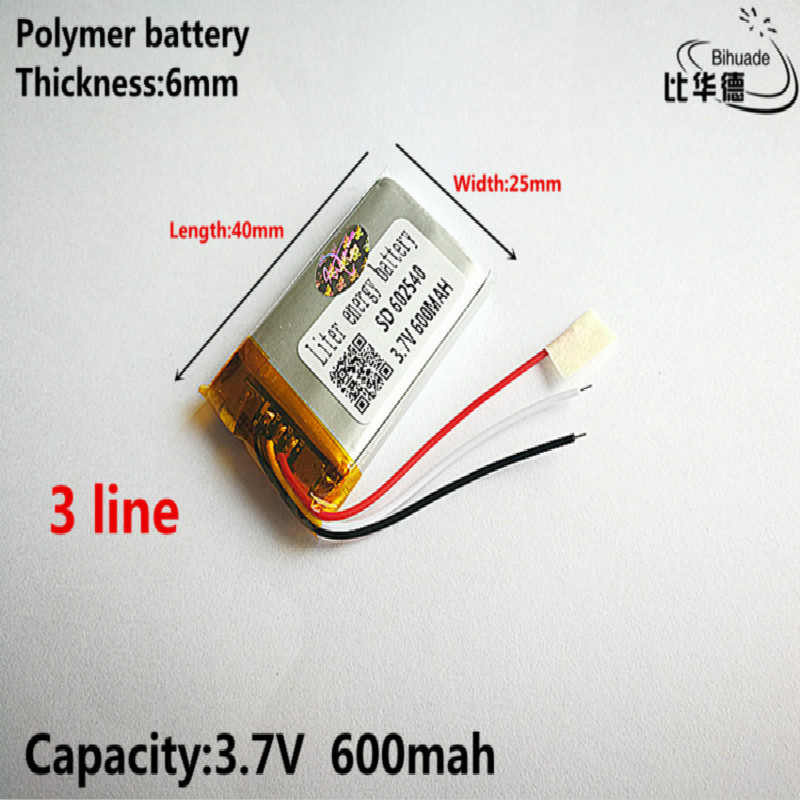 3 line Good Qulity 3.7V,600mAH,<font><b>602540</b></font> Polymer lithium ion / Li-ion <font><b>battery</b></font> for TOY,POWER BANK,GPS,mp3,mp4 image