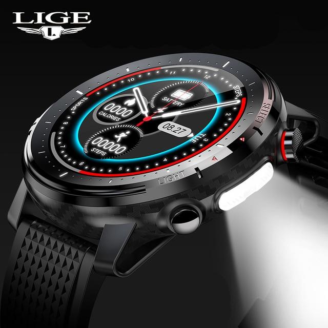 LIGE 2021 IP68 Waterproof Smart Watch Men ECG Heart Rate Blood Pressure Monitor LED Flashlight 1.3 Full Touch Screen smartwatch