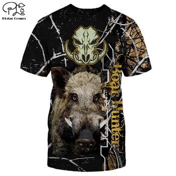 PLstar Cosmos Boar Hunting 3D Printed Men for women t shirt Harajuku summer Short sleeve Casual T-shirt top style-1