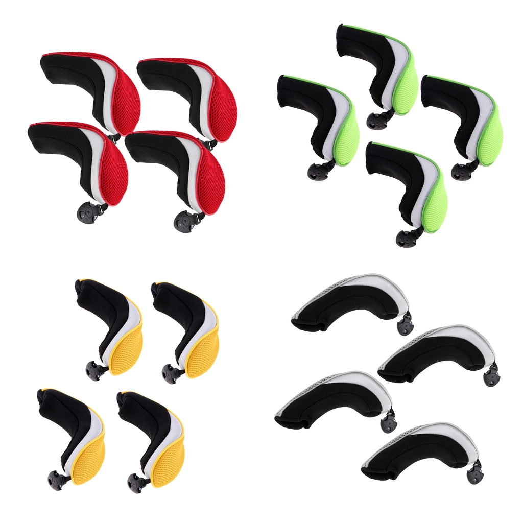 4Pcs/Set Mesh Golf Club Rescue Head Cover Hybrid UT Headcover With Number Tag Replacement