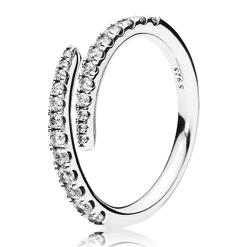 925-Sterling-Silver Ring-Shooting Jewelry Open-Rings Crystal Wedding-Party-Gift Women