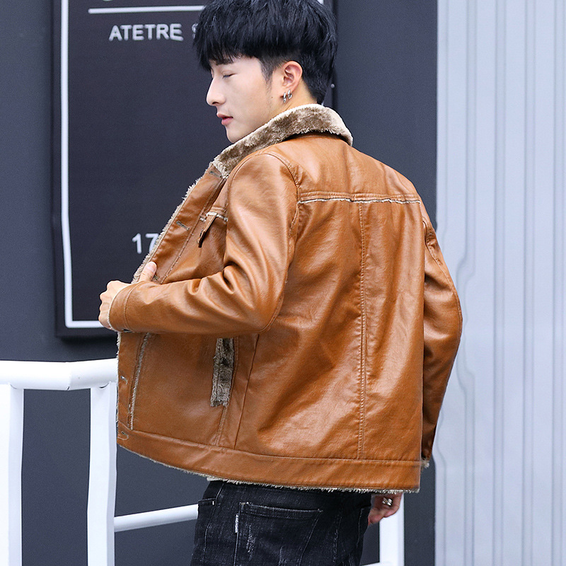 2020 new men's cultivate one's morality winter motorcycle leather jackets youth add hair thickening fashion leisure leather 8XL 26