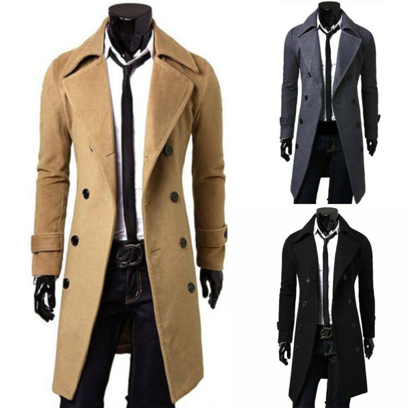 Men/'s Casual Woolen Jacket Winter Slim fit Double-breasted Trench Coat Thickened