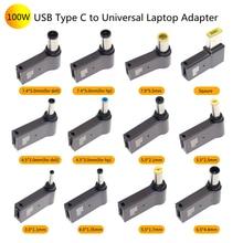 100W PD parodia wtyczka USB typ C kobieta na uniwersalny męski konwerter Jack dla Lenovo dla Asus Notebook ładowarka Laptop zasilacz