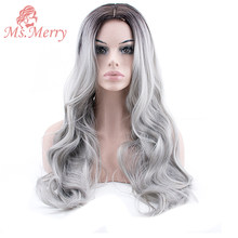 Ms.Merry Ombre Wigs Body Wave Long Dark Brown Women's Wig Middle Part Hair Wig Natural Heat Resistant Synthetic Wigs for Women