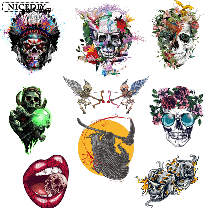 Nicediy DIY Grim Reaper Skull Patches Heat Transfer Vinyl Sticker Stripe Applique On Clothes Stickers Punk Badge Decor Washable in Patches from Home Garden