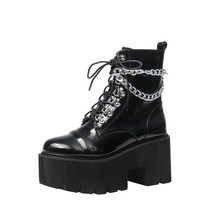 2021 New Patent Leather Gothic Black Boots Women Heel Sexy Chain Chunky Heel Platform Boots Female Punk Style Boots Zipper