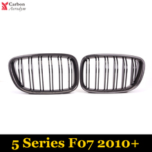 1 Pair New Carbon Fiber Replacement Grill Gloss Black Double Slat Front  Grille For BMW 5 Series Gran Turismo F07 2010+