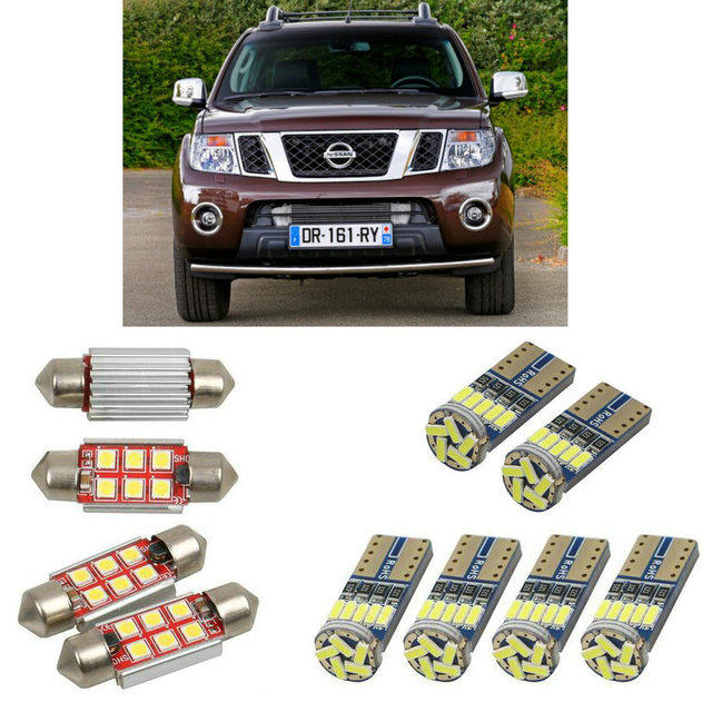 Interior led Car lights For Nissan np300 navara d40 pick up bulbs for cars License Plate Light 6pc