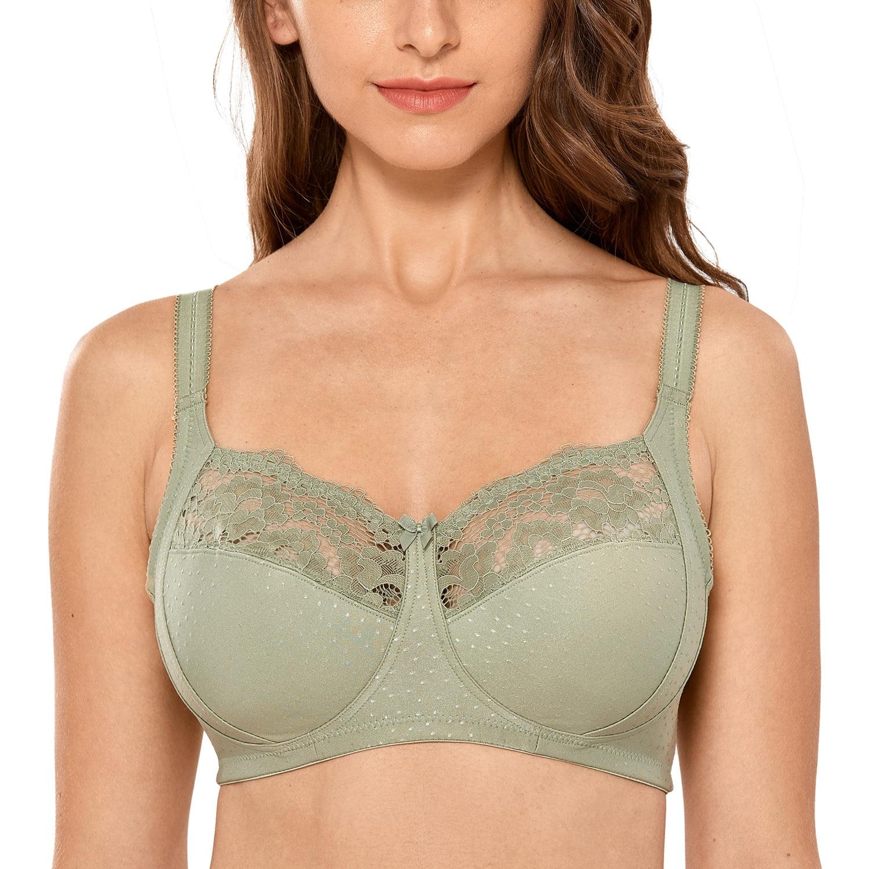 Women's Full Coverage Lace Wireless Non-padded Cotton Bras 36-48 C D DD E F G