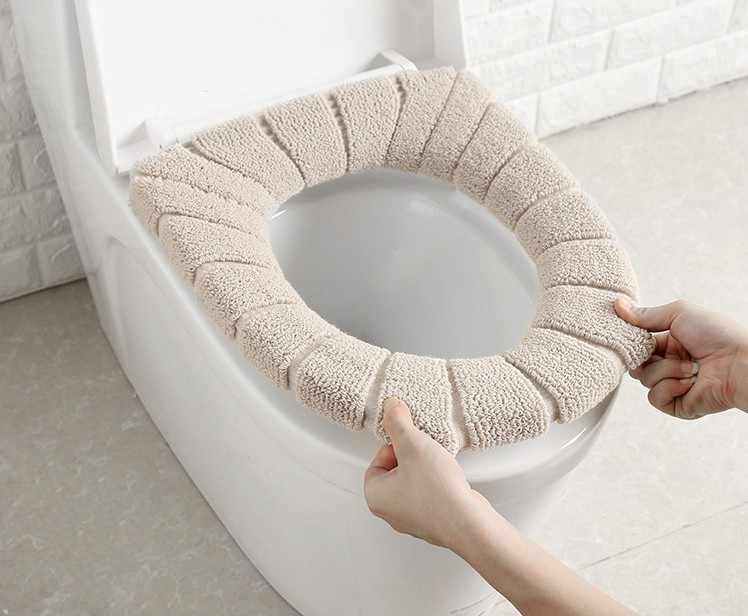 Universal cómodo terciopelo Coral baño Asiento de baño lavable closetaburete estándar calabaza patrón suave cojín