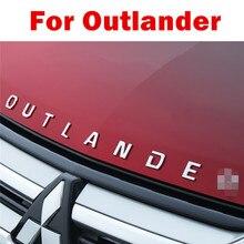 Pegatinas para coche Mitsubishi Outlander ABS cromado, con letras 3D, emblema para capó, Logo, accesorios de estilismo para coche