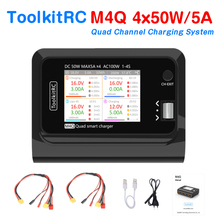 ToolkitRC M4Q 4x50w 5A 1 4S AC 100W 4 Ports XT60 DC Smart Charger 32 Bit ARM IPS Bright Clear Wide Angle Display for RC FPV