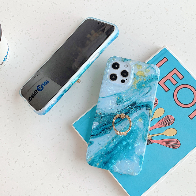 Custodia per telefono in marmo sfumato Dream Shell per iPhone 12 Pro 12 Mini 11 Pro XS Max XR X 7 8 Plus custodia morbida per paraurti con anello IMD