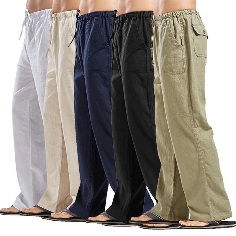 2020 мужские натуральный хлопок, льняные брюки летние брюки повседневные мужские однотонные штаны с эластичной резинкой на талии, прямые сво...