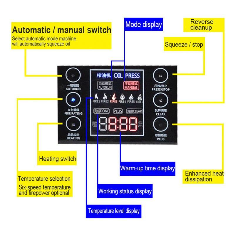 La potencia máxima del hogar es de 1500W prensa de aceite la pantalla de funcionamiento táctil de temperatura de seis velocidades puede funcionar continuamente durante 24 horas - 4
