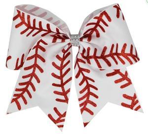 Image 3 - Yeni 7 inç saç yay softbol yaylar saç tokası ile Cheer bow beyzbol futbol voleybol dans elastik band abd 10 adet/