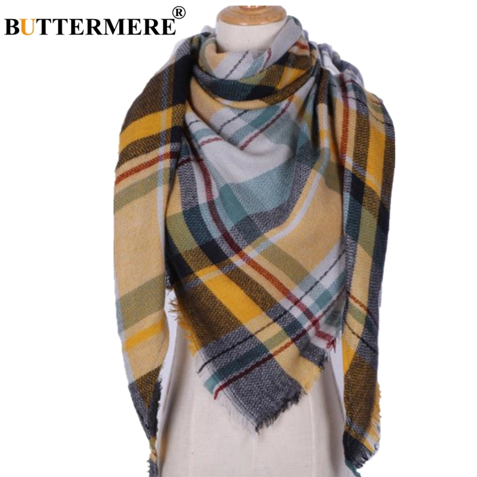 BUTTERMERE Scarf Women Plaid Blanket Scarf Ladies Warm Pashmina Wrap Cashmere Brand British Style Female Shawls And Scarves