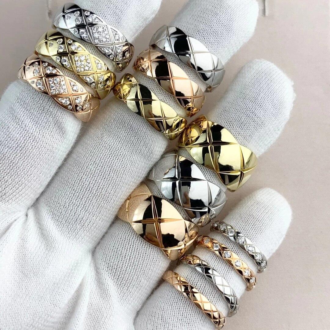 Venda quente corte de grão rosa ouro & ouro & prata cor anéis de aço inoxidável