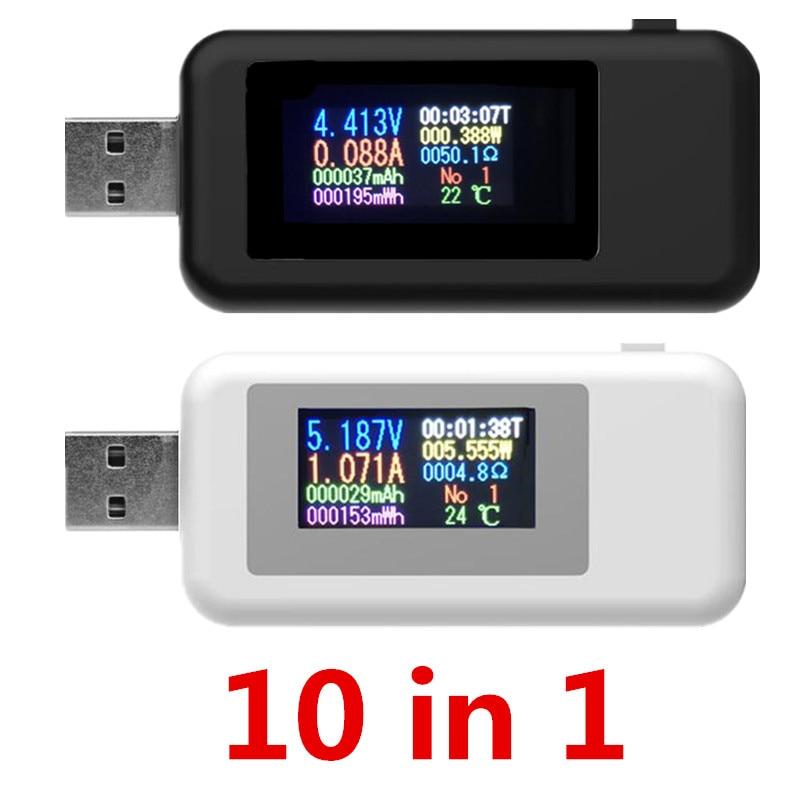 10 ב 1 usb tester dc מד כוח דיגיטלי מד מתח voltimetro וולט מד כוח בנק wattmeter מתח tester רופא גלאי